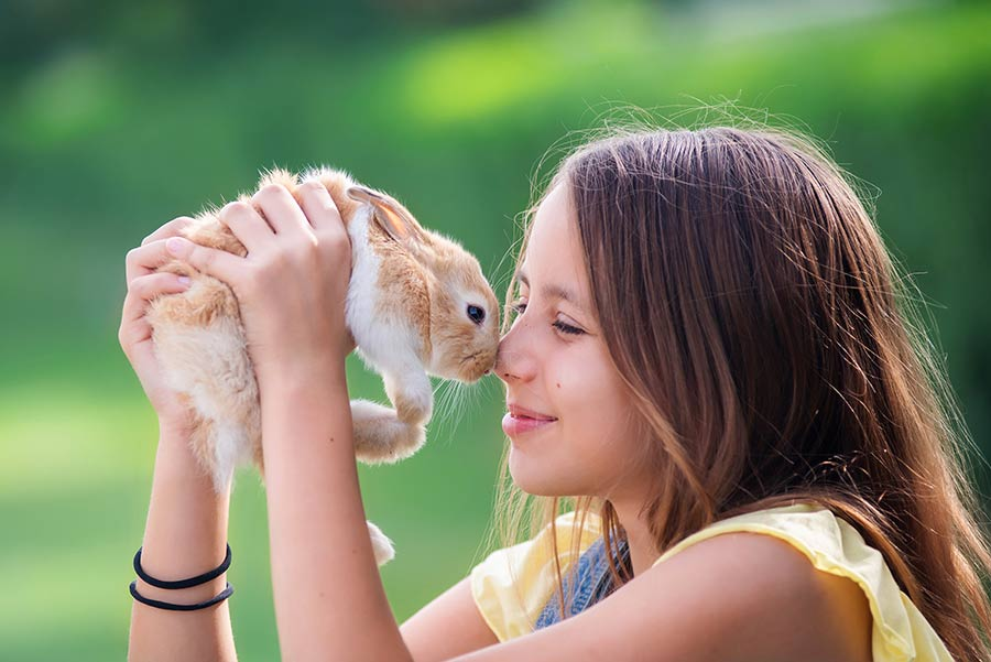 Girl with a rabbit photo session in Dubai